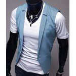 cheap Stylish V-Neck Solid Color One Button Slimming Sleeveless Cotton Blend Blue Waistcoat For Men