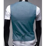 Stylish V-Neck Solid Color One Button Slimming Sleeveless Cotton Blend Blue Waistcoat For Men deal