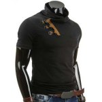 cheap Trendy Slimming Cowl Neck Color Block Horn Button Short Sleeve Polyester T-Shirt For Men