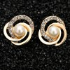 Pair of Stylish Faux Pearl Love Knot Earrings For Women deal