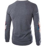 cheap Fashion Slimming Round Neck Buttons Design Patched Splicing Long Sleeve Woolen Blend T-Shirt For Men