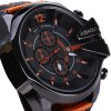best Jubaoli Date Function Male Quartz Watch with Canvas + Leather Band
