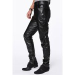 cheap Slimming Stylish Solid Color Zipper Design Narrow Feet Men's PU Leather Pants