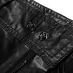 Slimming Stylish Solid Color Zipper Design Narrow Feet Men's PU Leather Pants for sale