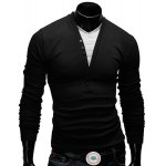 Modish Fitted V-Neck Faux Twinset Button Design Long Sleeve Polyester T-Shirt For Men