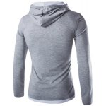 cheap Fashion Slimming Hooded Color Block Splicing Long Sleeve Polyester T-Shirt For Men