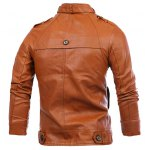 cheap Slimming Rib Spliced Button and Epaulet Design Stand Collar Long Sleeves Men's Locomotive PU Leather Jacket