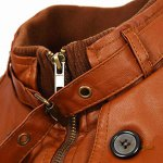 Slimming Rib Spliced Button and Epaulet Design Stand Collar Long Sleeves Men's Locomotive PU Leather Jacket deal
