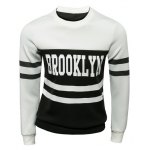 Buy Trendy Slimming Round Neck Letter Print Two Color Splicing Long Sleeve Polyester Sweatshirt Men 2XL