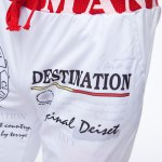 best Loose Fit Stylish Lace-Up Splash-Ink Letters Print Beam Feet Polyester Sweatpants For Men