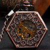 Hollow Out Flip Cover Mechanical Pocket Watch with Clip Hexagon Dial photo