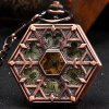best Hollow Out Flip Cover Mechanical Pocket Watch with Clip Hexagon Dial
