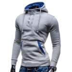 Trendy Hooded Double Breasted Pocket Hemming Slimming Long Sleeve Cotton Blend Hoodie For Men deal