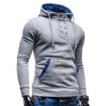 cheap Trendy Hooded Double Breasted Pocket Hemming Slimming Long Sleeve Cotton Blend Hoodie For Men