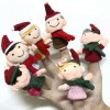 cheap Christmas Family Knitted Finger Doll Interactive Game Props for Intellectual Development - 6Pcs