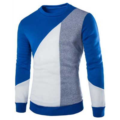 Modish Slimming Round Neck Multicolor Irregular Splicing Long Sleeve Polyester Sweatshirt For Men