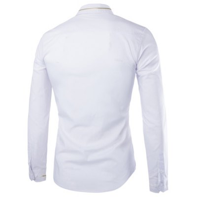 ФОТО Fashion Slimming Shirt Collar Simple Solid Color Zipper Design Long Sleeve Polyester Shirt For Men
