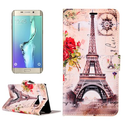 Tower and Flower Design PU Material Folio Case for Samsung Galaxy S6 Edge Plus