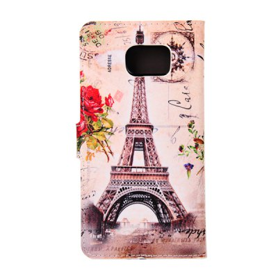 ФОТО ENKAY Tower and Flower Pattern PU Leather Smart Fit Wallet Folio Case Kickstand Design with Credit Card Slot for Samsung Galaxy S6 Edge Plus