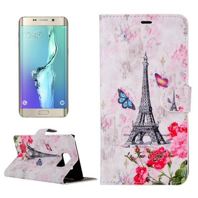 ENKAY Tower and Butterfly Pattern PU Leather Smart Fit Wallet Folio Case Kickstand Design with Credit Card Slot for Samsung Galaxy S6 Edge Plus