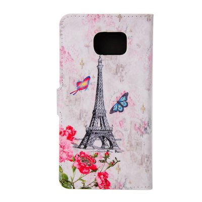 ФОТО ENKAY Tower and Butterfly Pattern PU Leather Smart Fit Wallet Folio Case Kickstand Design with Credit Card Slot for Samsung Galaxy S6 Edge Plus