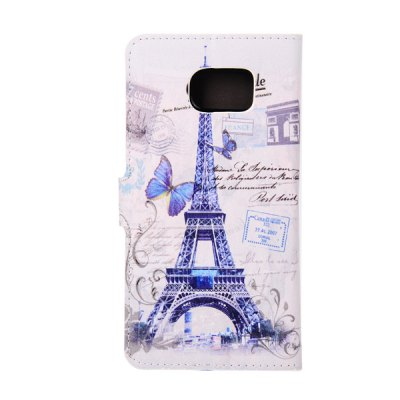 ФОТО ENKAY Purple Tower and Butterfly Pattern PU Leather Smart Fit Wallet Folio Case Kickstand Design with Credit Card Slot for Samsung Galaxy S6 Edge Plus