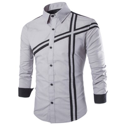 Trendy Slimming Shirt Collar Color Block Stripe Splicing Long Sleeve Polyester Shirt For Men