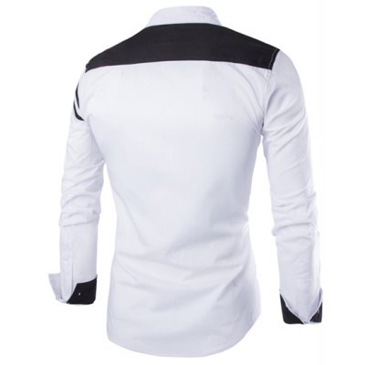 Гаджет   Trendy Slimming Shirt Collar Color Block Stripe Splicing Long Sleeve Polyester Shirt For Men Shirts
