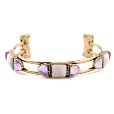 Vintage Double-Layered Rhinestone Hollow Out Cuff Bracelet For Women