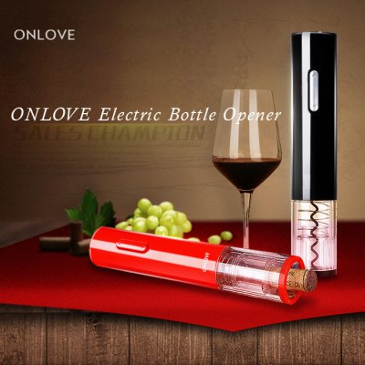 ONLOVE Electric Wine Bottle OpenerBarware<br>ONLOVE Electric Wine Bottle Opener<br><br>Type: Bottle Opener<br>Brand: ONLOVE<br>Material: ABS, PC<br>Product weight   : 0.200 kg<br>Package weight   : 0.600 kg<br>Product size (L x W x H)   : 4.5 x 4.5 x 23 cm / 1.77 x 1.77 x 9.04 inches<br>Package size (L x W x H)  : 8 x 8 x 25 cm / 3.14 x 3.14 x 9.83 inches<br>Package Contents: 1 x Bottle Opener