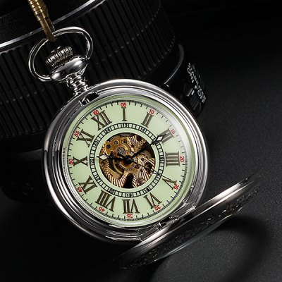 Hollow-out Automatic Mechanical Pocket WatchPocket Watches<br>Hollow-out Automatic Mechanical Pocket Watch<br><br>Watches categories: Pocket watch<br>Watch style: Hollow-out<br>Style elements: Restore Ancient ways<br>Available color: Silver<br>Movement type: Automatic Mechanical watch<br>Display type: Analog<br>Case material: Alloys<br>Band material: Alloys<br>Special features: Luminous<br>The dial thickness: 1.69 cm / 0.67 inches<br>The dial diameter: 4.72 cm / 1.86 inches<br>Product weight: 0.075 kg<br>Package weight: 0.125 kg<br>Product size (L x W x H) : 36 x 4.72 x 1.69 cm / 14.15 x 1.85 x 0.66 inches<br>Package size (L x W x H): 8 x 8 x 4 cm / 3.14 x 3.14 x 1.57 inches<br>Package contents: 1 x Pocket Watch