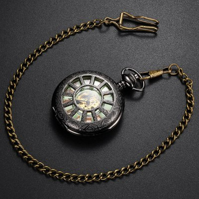 ФОТО Hollow-out Retro Automatic Mechanical Pocket Watch with Luminous Dial