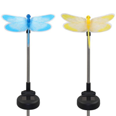 Гаджет   2 x Solar Dragonfly Shaped Garden Stake Light Color-changing Optical Fiber Path Light Outdoor Lights