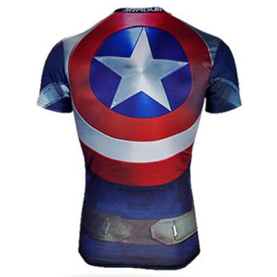 Гаджет   Modish Skinny Round Neck 3D Captain America Pattern Short Sleeve Quick-Dry Superhero T-Shirt For Men T-Shirts