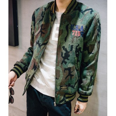 Гаджет   Slimming Stand Collar Eagle Letter Embroidered Long Sleeve Men