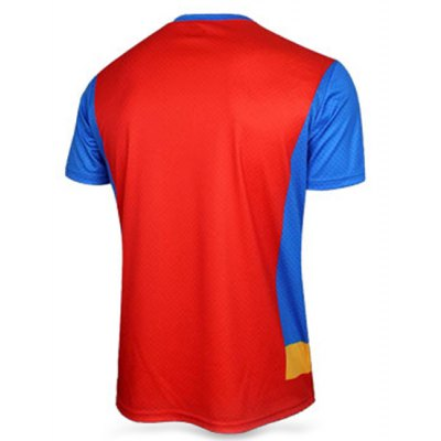 Гаджет   Stylish Skinny Round Neck 3D Superman Print Color Block Short Sleeve Superhero T-Shirt For Men T-Shirts