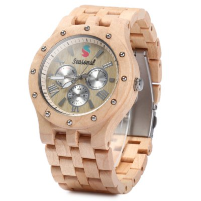 Seasonal Maple Band Luminous Pointers Male Quartz Watch
