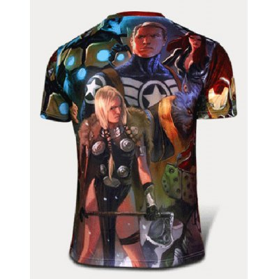 Гаджет   Fashion Skinny Round Neck 3D Characters Pattern Short Sleeve Quick-Dry Superhero T-Shirt For Men T-Shirts
