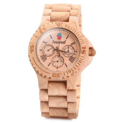 Seasonal Male Quartz Watch Decorative Sub-dials Maple BandMens Watches<br>Seasonal Male Quartz Watch Decorative Sub-dials Maple Band<br><br>Brand: Seasonal<br>Watches categories: Male table<br>Watch style: Fashion<br>Available color: Light Coffee, Brown, Multi-color<br>Movement type: Quartz watch<br>Display type: Analog<br>Case material: Maple<br>Band material: Maple<br>Clasp type: Sheet folding clasp<br>Special features: Decorating small sub-dials<br>The dial thickness: 1.0 cm / 0.39 inches<br>The dial diameter: 4.5 cm / 1.77 inches<br>The band width: 2.5 cm  / 0.98 inches<br>Product weight: 0.046 kg<br>Package weight: 0.119 kg<br>Product size (L x W x H): 21 x 4.5 x 1 cm / 8.25 x 1.77 x 0.39 inches<br>Package size (L x W x H): 9 x 9 x 5.7 cm / 3.54 x 3.54 x 2.24 inches<br>Package Contents: 1 x Watch