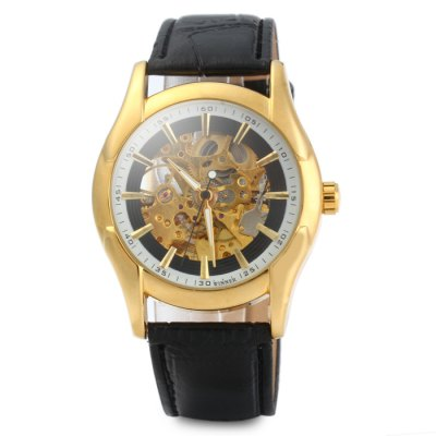 ФОТО U8010 Men Luminous Pointers Automatic Mechanical Hollow-out Watch with Leather Band