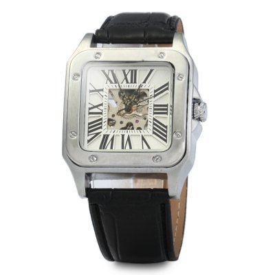 Гаджет   Automatic Mechanical Hollow-out Watch with Leather Band for Men Men