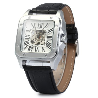 Automatic Mechanical Hollow-out Watch with Leather Band for Men