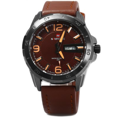 Naviforce NF9055M Male Quartz WatchMens Watches<br>Naviforce NF9055M Male Quartz Watch<br><br>Brand: Naviforce<br>Watches categories: Male table<br>Watch style: Business<br>Available color: Red, Brown, Brown and Black, Black<br>Movement type: Quartz watch<br>Shape of the dial: Round<br>Display type: Analog<br>Case material: Stainless steel<br>Band material: Genuine leather<br>Clasp type: Pin buckle<br>Special features: Date, Day<br>Water Resistance: 30 meters<br>The dial thickness: 1.2 cm / 0.47 inches<br>The dial diameter: 4.5 cm / 1.77 inches<br>The band width: 2.1 cm / 0.83 inches<br>Wearable Length:: 17 - 22.5 cm / 6.69 - 8.86 inches<br>Product weight: 0.086 kg<br>Package weight: 0.136 kg<br>Product size (L x W x H): 26 x 4.5 x 1.2 cm / 10.22 x 1.77 x 0.47 inches<br>Package size (L x W x H): 27 x 5.5 x 2.2 cm / 10.61 x 2.16 x 0.86 inches<br>Package Contents: 1 x Naviforce NF9055M Watch