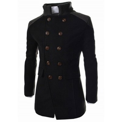 Stand Collar Long Sleeves Peacoat