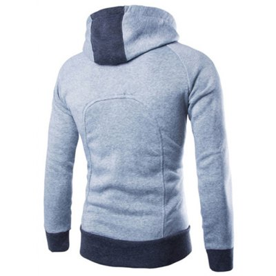 Гаджет   Fashion Hooded Three Button Color Spliced Front Pocket Slimming Long Sleeves Men