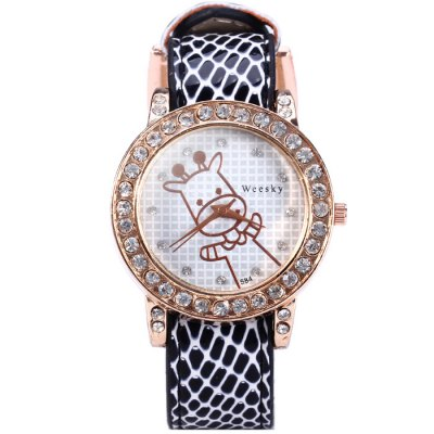 Гаджет   Weesky 584 Calf Pattern Leather Band Diamond Removable Dial Women Quartz Watch Women