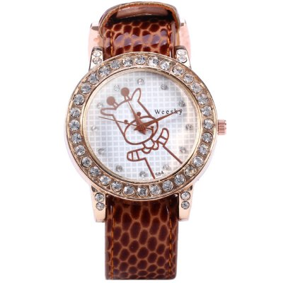 Гаджет   Weesky 584 Calf Pattern Leather Band Diamond Removable Dial Women Quartz Watch