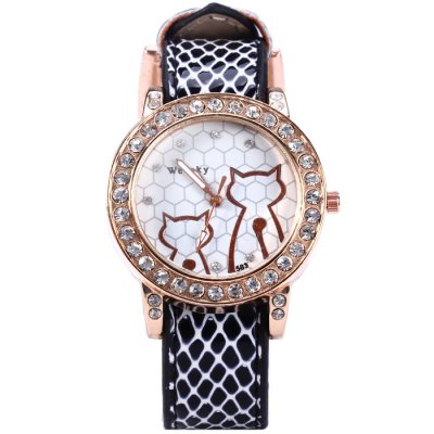 Weesky 583 Cat Pattern Leather Band Diamond Removable Dial Women Quartz Watch - WeeskyWomens Watches<br>Weesky 583 Cat Pattern Leather Band Diamond Removable Dial Women Quartz Watch<br><br>Brand: Weesky<br>Watches categories: Female table<br>Available color: Orange, Beige, Plum, Black, Brown<br>Style : Fashion&amp;Casual<br>Movement type: Quartz watch<br>Shape of the dial: Round<br>Display type: Analog<br>Case material: Stainless steel<br>Band material: Leather<br>Clasp type: Pin buckle<br>The dial thickness: 0.7 cm / 0.28 inches<br>The dial diameter: 3.8 cm / 1.5 inches<br>The band width: 1.7 cm / 0.67 inches<br>Wearable length: 12.5 - 18 cm / 4.9 - 7.09 inches<br>Product weight: 0.035 kg<br>Package weight: 0.085 kg<br>Product size (L x W x H) : 23 x 3.8 x 0.7 cm / 9.04 x 1.49 x 0.28 inches<br>Package size (L x W x H): 24 x 4.8 x 1.7 cm / 9.43 x 1.89 x 0.67 inches<br>Package contents: 1 x Weesky 583 Watch