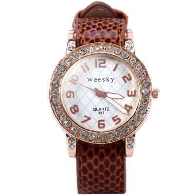 Weesky 581 Diamond Removable Dial Women Quartz Watch with Leopard Leather Band - WeeskyWomens Watches<br>Weesky 581 Diamond Removable Dial Women Quartz Watch with Leopard Leather Band<br><br>Brand: Weesky<br>Watches categories: Female table<br>Available color: Orange, Beige, Plum, Red, Brown<br>Style : Fashion&amp;Casual<br>Movement type: Quartz watch<br>Shape of the dial: Round<br>Display type: Analog<br>Case material: Stainless steel<br>Band material: Leather<br>Clasp type: Pin buckle<br>The dial thickness: 0.7 cm / 0.28 inches<br>The dial diameter: 3.8 cm / 1.5 inches<br>The band width: 1.7 cm / 0.67 inches<br>Wearable length: 12.5 - 18 cm / 4.9 - 7.09 inches<br>Product weight: 0.035 kg<br>Package weight: 0.085 kg<br>Product size (L x W x H) : 23 x 3.8 x 0.7 cm / 9.04 x 1.49 x 0.28 inches<br>Package size (L x W x H): 24 x 4.8 x 1.7 cm / 9.43 x 1.89 x 0.67 inches<br>Package contents: 1 x Weesky 581 Watch