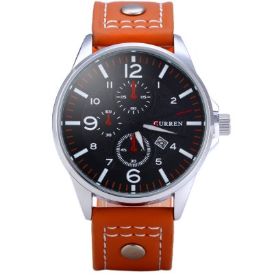 Curren 8164 Male Quartz Watch with Date Function Leather BandMens Watches<br>Curren 8164 Male Quartz Watch with Date Function Leather Band<br><br>Brand: Curren<br>Watches categories: Male table<br>Watch style: Fashion<br>Available color: Orange, Black, Blue, Green, Brown<br>Movement type: Quartz watch<br>Shape of the dial: Round<br>Display type: Analog<br>Case material: Stainless steel<br>Band material: Leather<br>Clasp type: Pin buckle<br>Special features: Date, Decorating small sub-dials<br>The dial thickness: 1.1 cm / 0.63 inches<br>The dial diameter: 4.3 cm / 1.69 inches<br>The band width: 2.2 cm / 0.87 inches<br>Wearable length: 16.5 - 22 cm / 6.5 - 8.66 inches<br>Product weight: 0.056 kg<br>Package weight: 0.106 kg<br>Product size (L x W x H): 25.5 x 4.3 x 1.1 cm / 10.02 x 1.69 x 0.43 inches<br>Package size (L x W x H): 26.5 x 5.3 x 2.1 cm / 10.41 x 2.08 x 0.83 inches<br>Package contents: 1 x Curren 8164 Watch